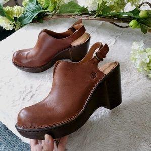 🌿 Børn Leather Wedge Clogs